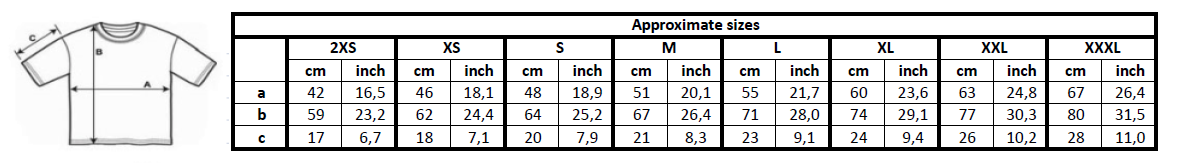 Chart size for T-shirts (please contact us if you're vision impaired or are unable to read this chart)