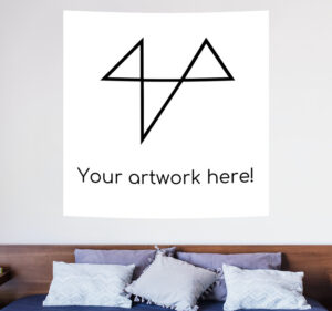 """Tapestry with text """"your artwork here"""""""