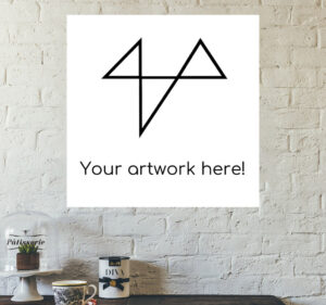 """Wall art with text """"your artwork here"""""""